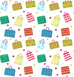 Cute shopping bag seamless pattern. Colorful shopping bags with different design backdrop. Paper bags endless background, texture. Gift package. Vector Illustration.