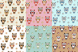 Kids seamless pattern with owls. Owl endless background, texture. Childrens backdrop. Vector illustration.