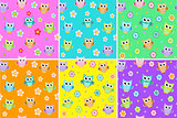 Kids seamless pattern with owls. Owl endless background, texture. Children s backdrop. Vector illustration.