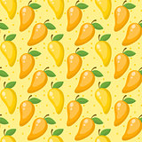 Mango seamless pattern, endless background, texture. Fruits background Vector illustration.