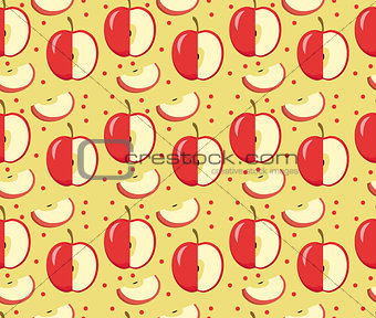 Apples seamless pattern. Red Apple endless background, texture. Fruits background. Vector illustration.