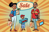 African family dad mom and son with shopping on sale