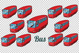 bus autobus collection set neutral background