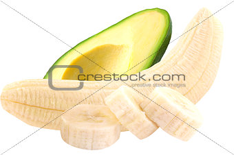 Avocado and banana isolated on white