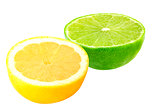 Half lime and lemon isolated