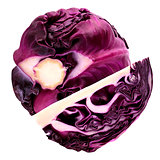 One and half red cabbage isolated