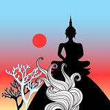 Graphic vector Buddha