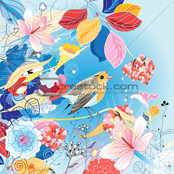 Beautiful bright illustration with a bird