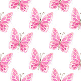 Pattern with pink butterflies