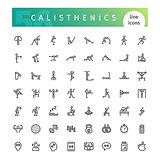 Calisthenics Line Icons Set