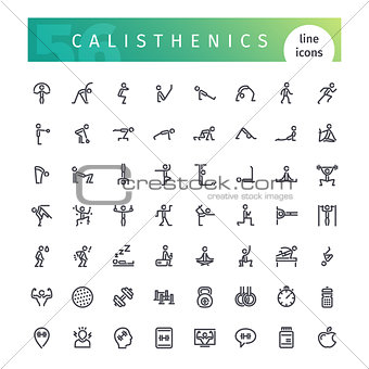 Calisthenics Line Icons Set