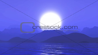 3D landscape of mountains against sunset purple sky