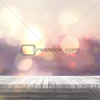 3D white wooden table looking out to a defocussed sunny landscap