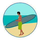 Surf-riding man On the beach sign