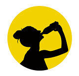 Black silhouette of woman drink water
