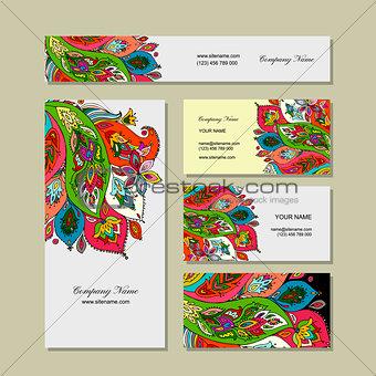 Business cards design, floral background