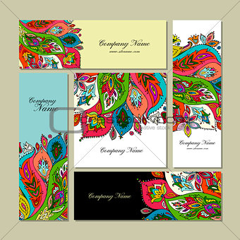 Business cards design, floral background
