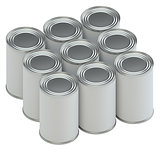 Group of metal tin cans with white paper labels