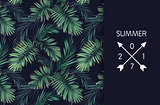 Summer tropical vector design for banner or flyer with dark green palm leaves and space for text.