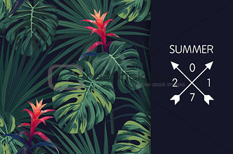 Green tropical design with palm leaves and exotic flowers. Vector floral template.
