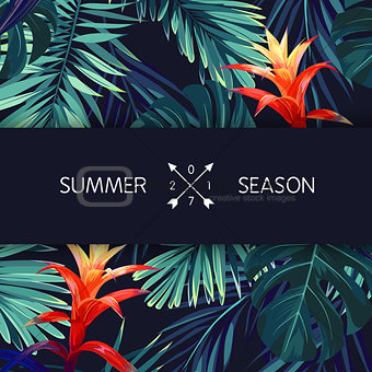 Green summer tropical background with exotic palm leaves and flowers. Vector floral background.