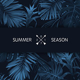 Blue indigo summer tropical hawaiian background with palm tree leaves and exotic flowers. Vector design for banner or advertisment.