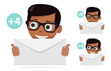 Boy with a letter in her hand. The icon for the site. The fun animated style. For modern websites and mobile app.