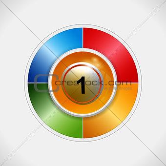 3D bingo ball over four colours disc