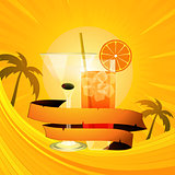 Tropical summer background with cocktails and banner
