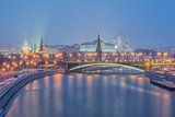 Russia, night view of the Moskva River, Bridge and the Kremlin
