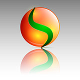 Orange and green circle logo