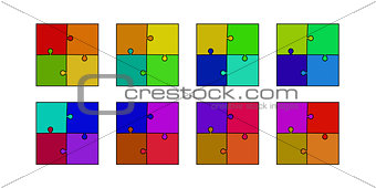 abstract colored puzzle set