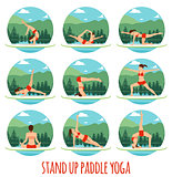 Woman doing Stand Up Paddling Yoga on Paddle Board on Water at lake Mountain landscape Stand Up Paddle Yoga Workout
