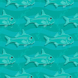 Seamless pattern with fish. Underwater background.