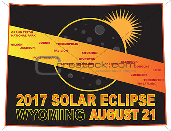 2017 Solar Eclipse Across Wyoming Cities Map Illustration
