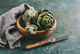 Ripe organic artichokes