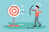 Vector illustration businessman hits target unsuccessful shot from bow regression wrong solution business failure marketing unachievable unlucky idea non-progress loss start-up in flat style