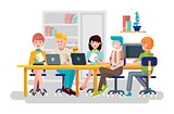 Vector illustration business people men women employees colleagues sit negotiating conference planning table teamwork brainstorm presentation leader boss meeting assembly collection flat style