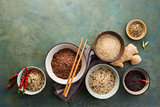 Assortment of different rice