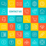 Vector Line Contact Us Icons
