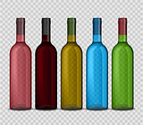 Set of transparent vector bottle of wine on checkered background.