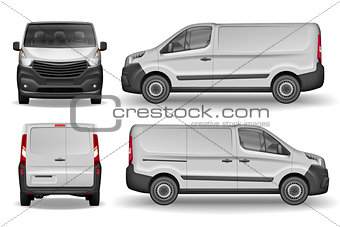 Cargo vehicle front, side and rear view. Silver delivery mini van isolated. Delivery Van Mockup for Advertising and Corporate transport. Vector illustration of Realistic car.