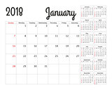 Simple calendar planner for 2018 year. Vector design January template. Set of 12 months. Week starts sunday. Calendar planning week.