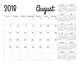 Simple calendar planner for 2018 year. Vector design August template. Set of 12 months. Week starts sunday. Calendar planning week.
