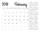 Simple calendar planner for 2018 year. Vector design February template. Set of 12 months. Week starts sunday. Calendar planning week.