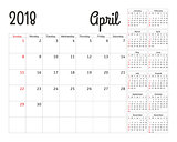 Simple calendar planner for 2018 year. Vector design April template. Set of 12 months. Week starts sunday. Calendar planning week.