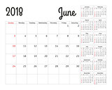 Simple calendar planner for 2018 year. Vector design June template. Set of 12 months. Week starts sunday. Calendar planning week.