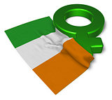venus symbol and flag of ireland - 3d rendering