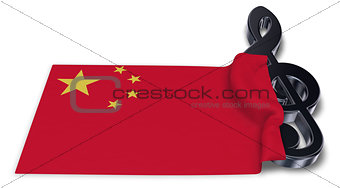 clef symbol symbol and flag of china - 3d rendering