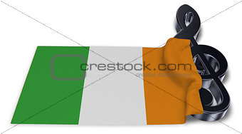 clef symbol and irish  flag - 3d rendering